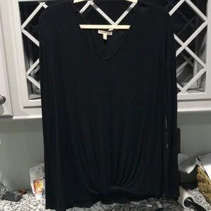 Bordeaux front tie long sleeve v neck shirt Size L